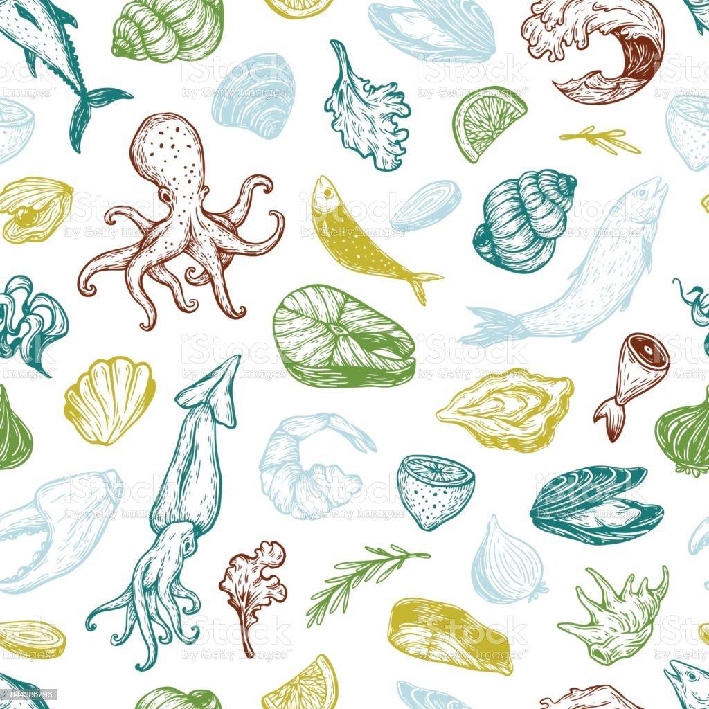 Seafood, Pattern. vector art illustration