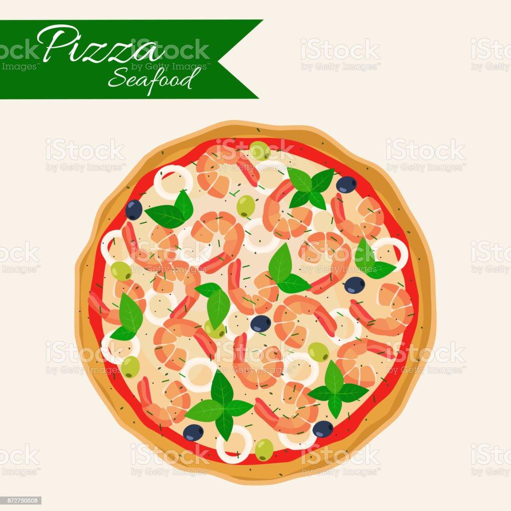 Seafood Pizza Stock Illustration ...
