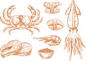 Seafood platter fresh ingredients sketch symbol