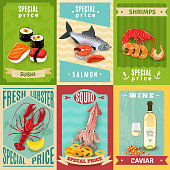 Premium quality fish and seafood mini poster set isolated vector illustration