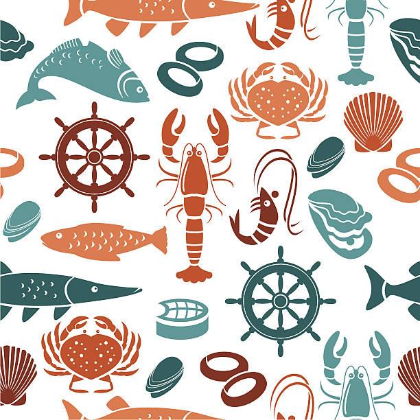 Seafood Repeat Pattern vector art illustration