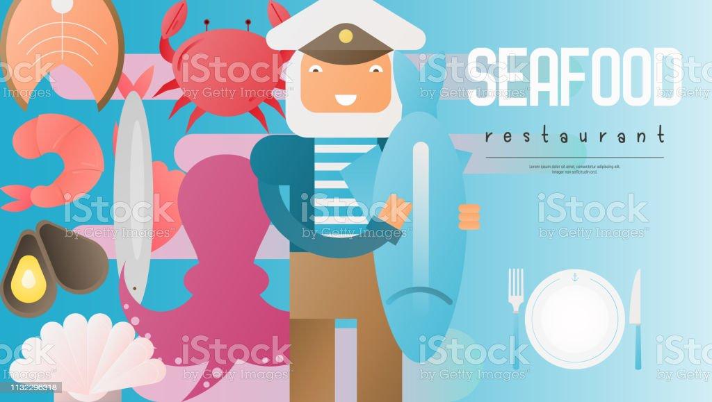 Fisk-och skaldjurs restaurang banner - Royaltyfri Abstrakt vektorgrafik