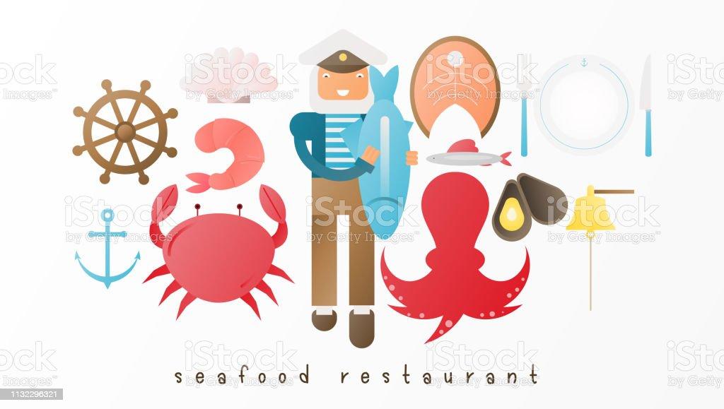 Fisk restaurang ikon uppsättning - Royaltyfri Abstrakt vektorgrafik