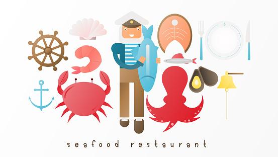 Fisk Restaurang Ikon Uppsättning-vektorgrafik och fler bilder på Abstrakt