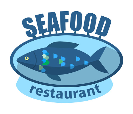 Seafood Restaurant Isolated Logotype Banner Text