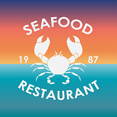 Seafood Restaurant label or emblem with crab symbol. Badge or icon in vintage style isolated on sea background.  Menu card design element. Vector illustration.