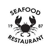Seafood Restaurant label or emblem with crab symbol. Black badge or icon in vintage style isolated on white background. Menu card design element. Vector illustration.