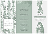 Hand drawn fish illustration. Vector template with hand drawn seafood illustration Vintage card or flyer design with sea food and seaweeds sketch. Restaurant menu.
