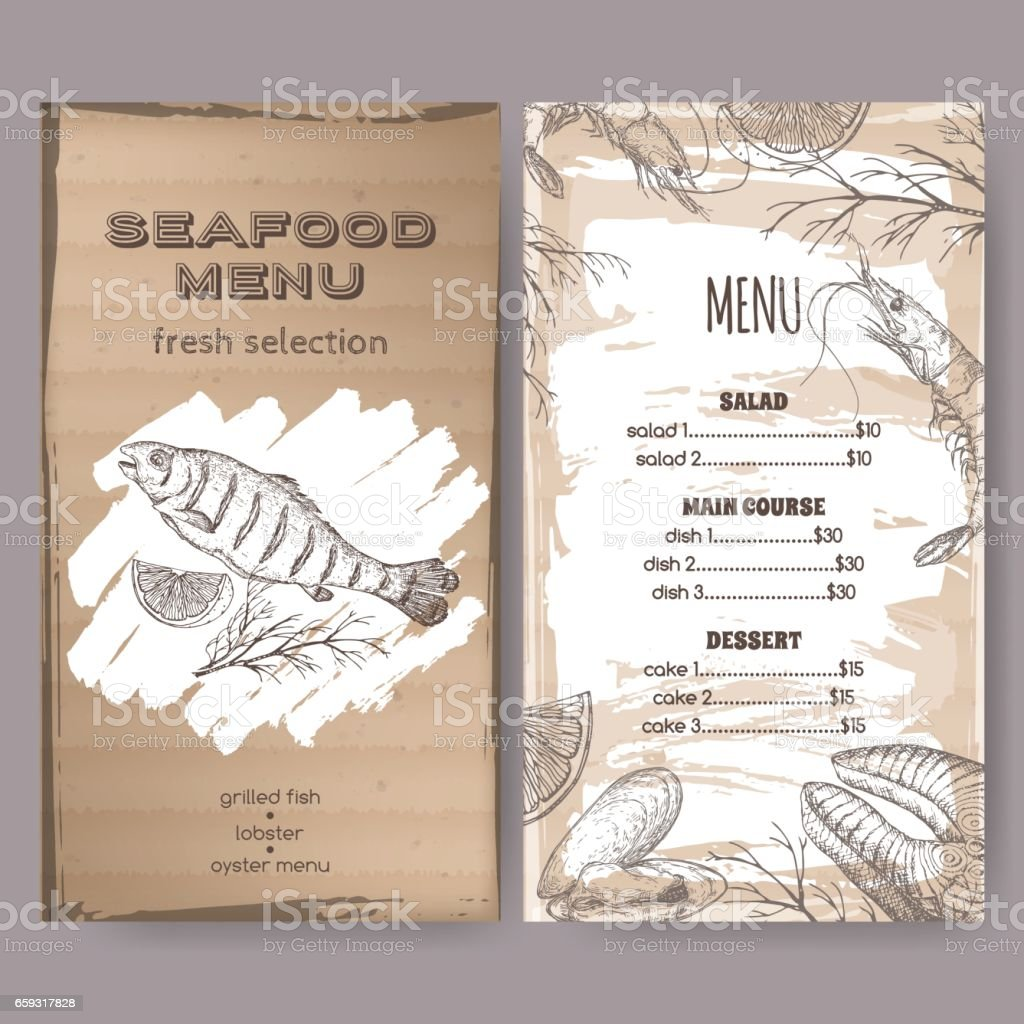 seafood restaurant menu template with sketch of grilled fish