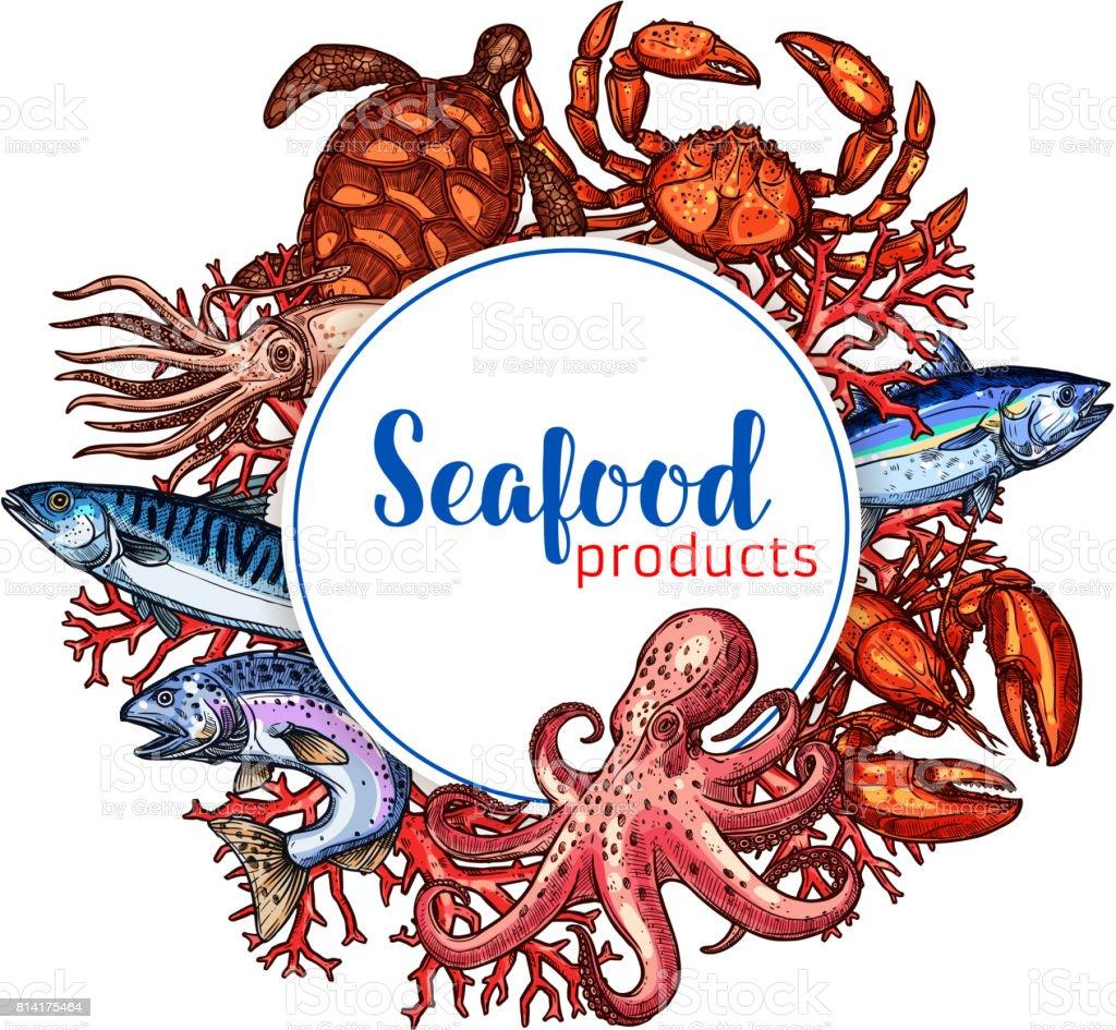 Seafood restaurant poster vector sketch design vector art illustration