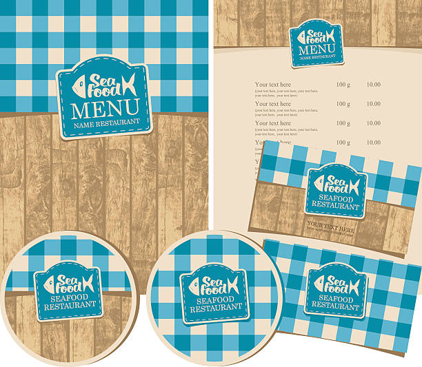 seafood restaurant with texture of wooden planks - ilustración de arte vectorial
