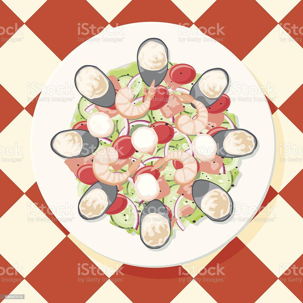 Seafood Salad royalty-free stock vector art