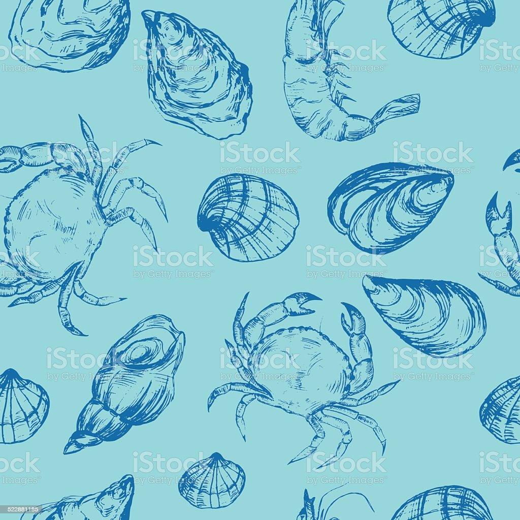 Seafood seamless pattern vector art illustration
