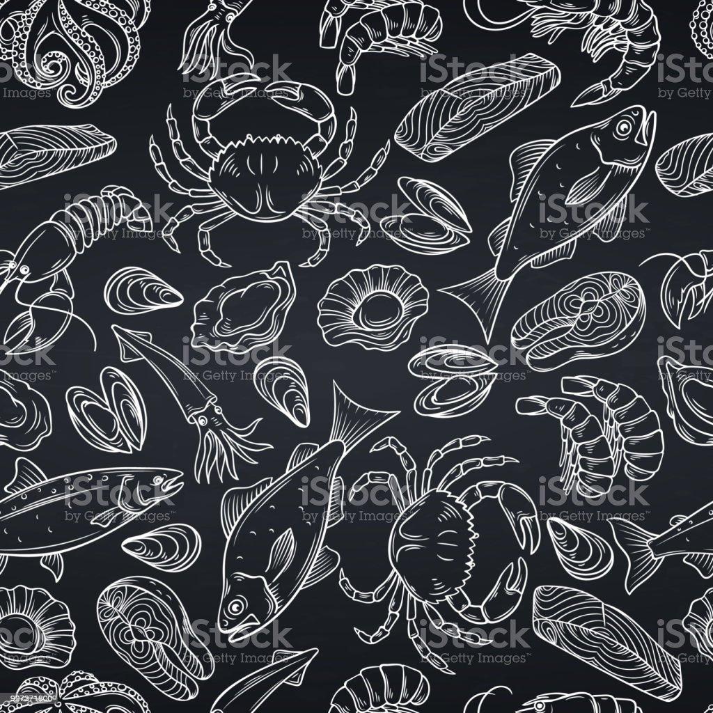 シーフードのシームレスなパターン ベクターアートイラスト
