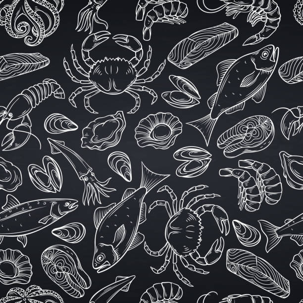 seafood seamless pattern Vector hand drawn seafood seamless pattern with mussel, fish salmon and shrimp. Lobster, squid, octopus, scallop, lobster or craps, mollusk, oyster, alfonsino and tuna for product market, white on black. seafood stock illustrations