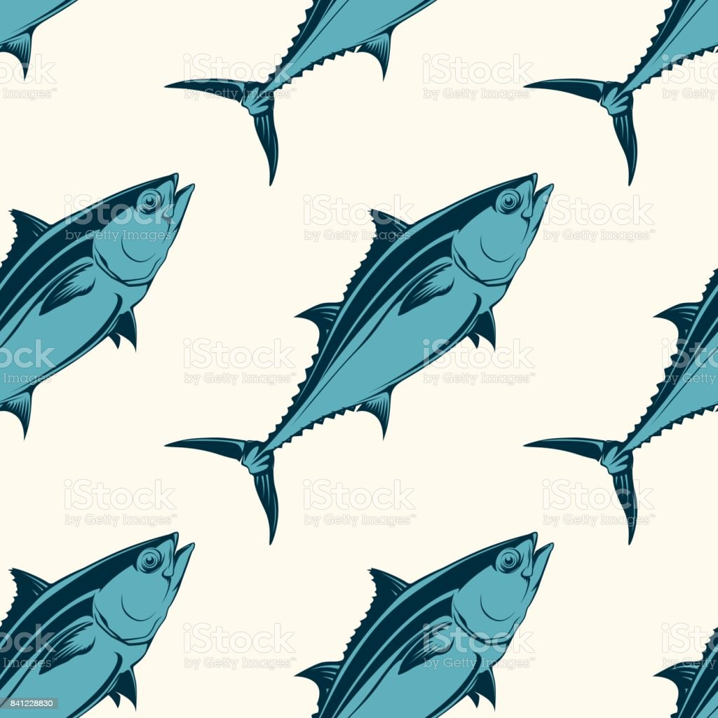 Seafood seamless pattern with tuna, vector illustration vector art illustration