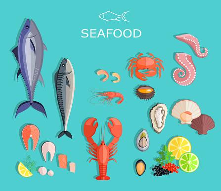 Seafood Set Design Flat Fish and Crab