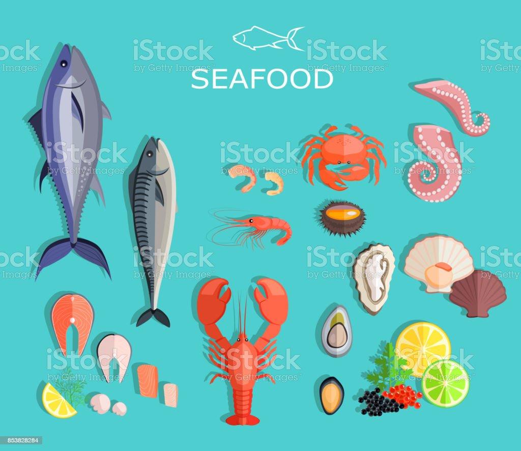 Seafood Set Design Flat Fish and Crab vector art illustration