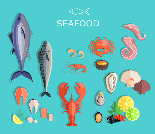Seafood Set Design Flat Fish and Crab Seafood set design flat fish and crab. Seafood fish, seafood platter, lobster and crab, food oyster, fresh seafood, shrimp and menu seafood, octopus animal, shellfish lemon, fresh seafood illustration seafood stock illustrations