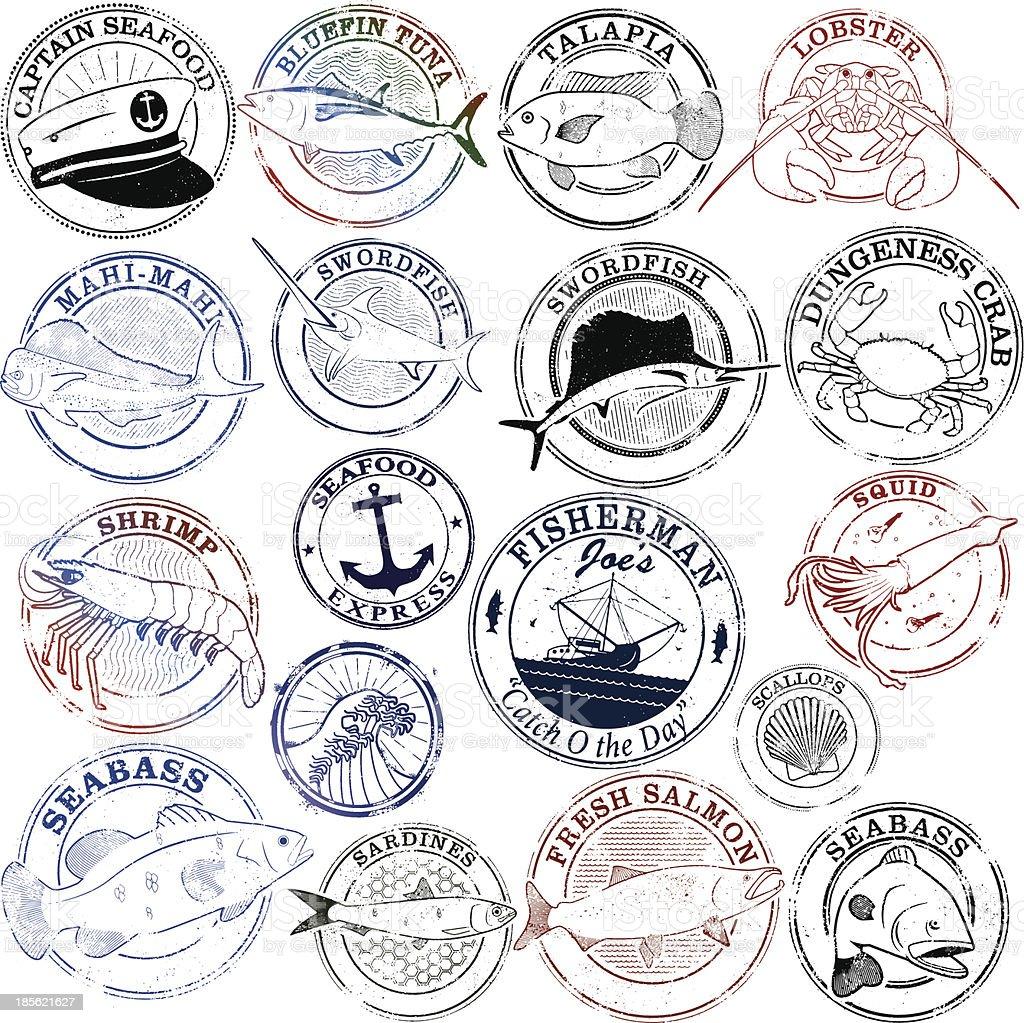 Seafood Stamp Series vector art illustration