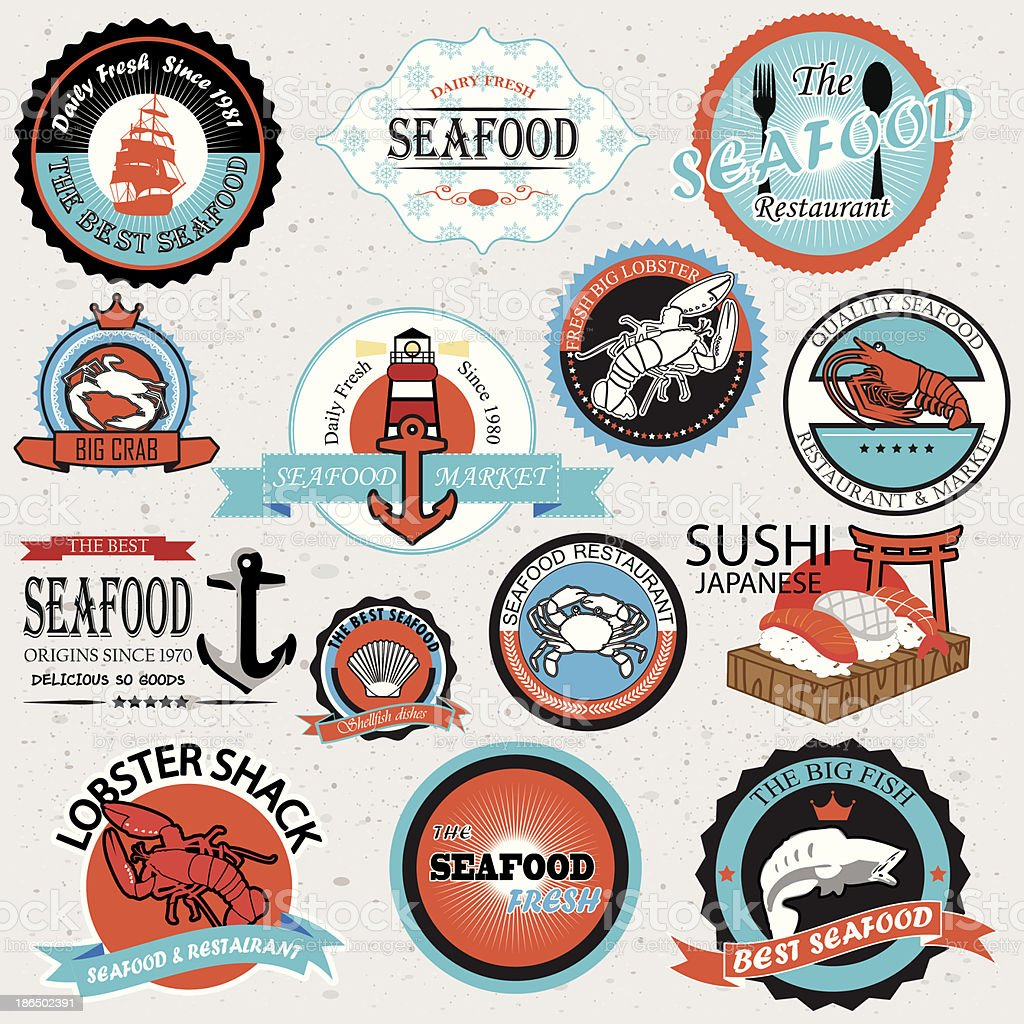 seafood symbols vector art illustration