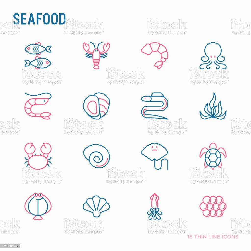 Conjunto de iconos de delgada línea mariscos: langosta, pescado, camarón, pulpo, ostra, anguila, algas, cangrejo, rampa, tortuga. Ilustración de vector moderno para el menú del restaurante. - ilustración de arte vectorial