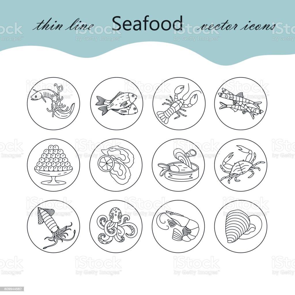 Set de iconos de vector de línea fina de mariscos - ilustración de arte vectorial