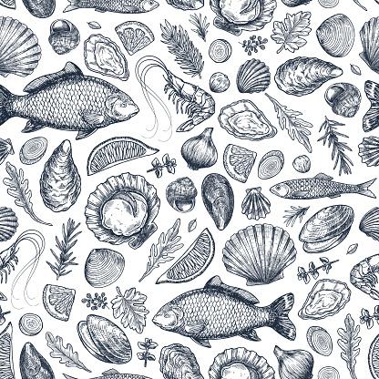Seafood various seamless pattern. Shrimp, mussel, oyster, seashell, herbs, carp, sardine, prawn.