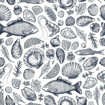 Seafood various seamless pattern. Shrimp, mussel, oyster, seashell, herbs, carp, sardine, prawn. Vector illustration
