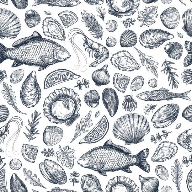 Seafood various seamless pattern. Shrimp, mussel, oyster, seashell, herbs, carp, sardine, prawn. Seafood various seamless pattern. Shrimp, mussel, oyster, seashell, herbs, carp, sardine, prawn. Vector illustration seafood stock illustrations