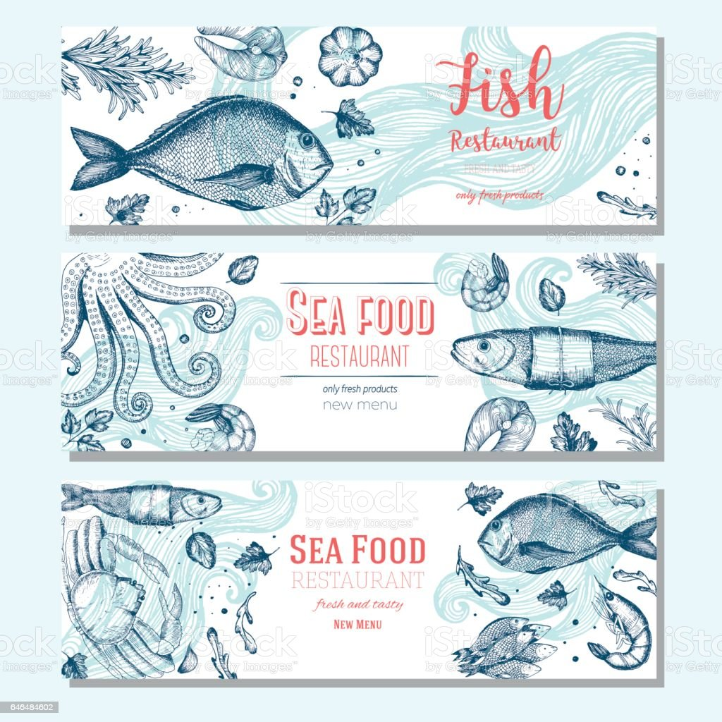 Seafood vintage design template. Horizontal banners set. vector art illustration