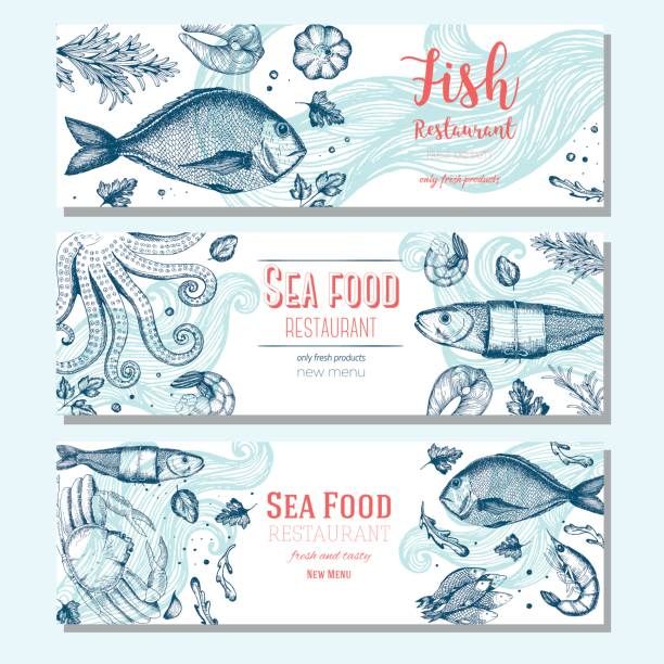 Seafood vintage design template. Horizontal banners set. Seafood vintage design template. Horizontal banners set. Vector illustration hand drawn linear art. Fish and seafood restaurant menu. Hand drawn sketch seafood vector banners seafood stock illustrations