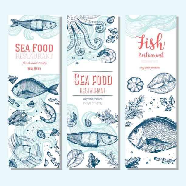 Seafood vintage design template. Vertical banners set. vector art illustration