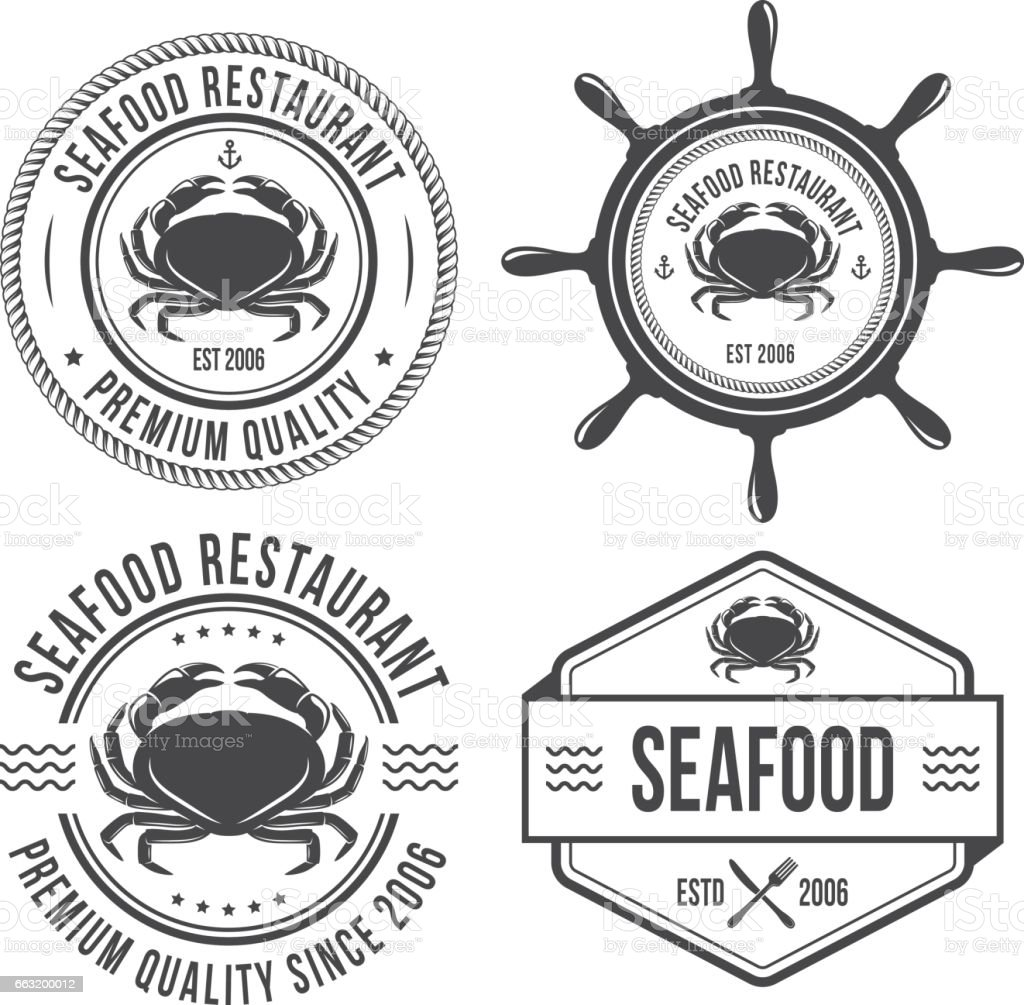 Seafood vintage emblems vector art illustration