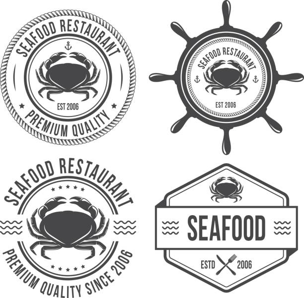 Seafood vintage emblems Seafood vintage emblems, vector illustrations seafood stock illustrations