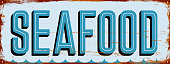 Seafood. Blank metal sign with room for text, graphics