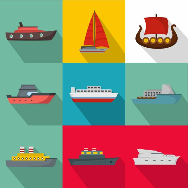 seegehenden schiffes icons set, flachen stil - funktionssofa stock-grafiken, -clipart, -cartoons und -symbole