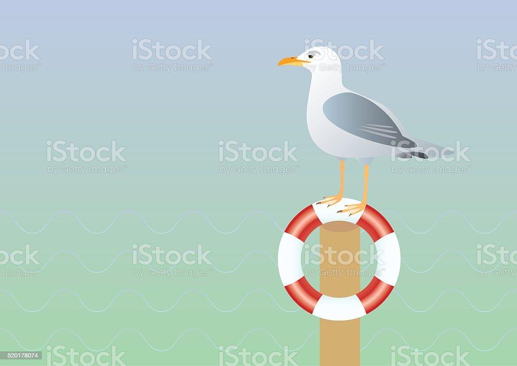Seagull and lifebuoy vector illustration vector art illustration
