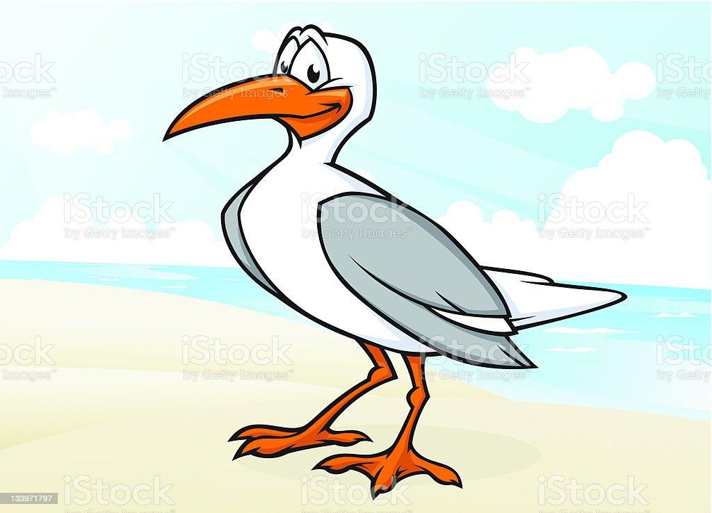 Seagull at Beach vector art illustration