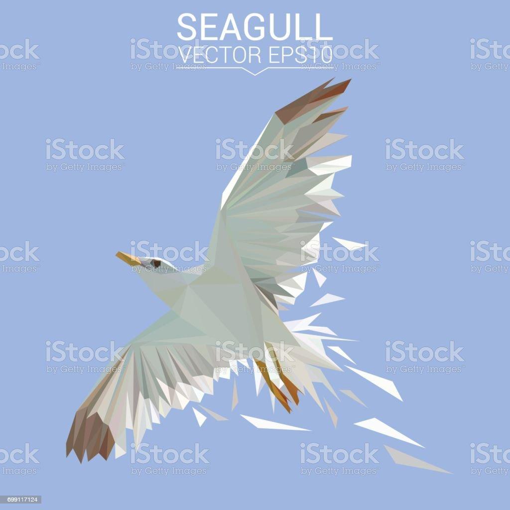 Seagull bird low poly design. Triangle vector illustration. vector art illustration
