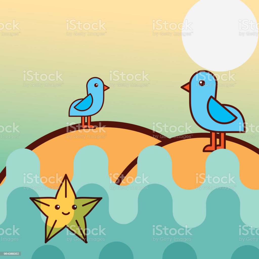seagull birds starfish sea life cartoon - Royalty-free Anchor - Vessel Part stock vector