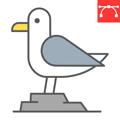 Seagull color line icon, sea and herring gull, seagull vector icon, vector graphics, editable stroke filled outline sign, eps 10.