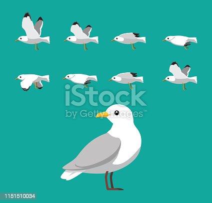 istock Seagull Flying Animation Sequence Cartoon Vector 1151510034