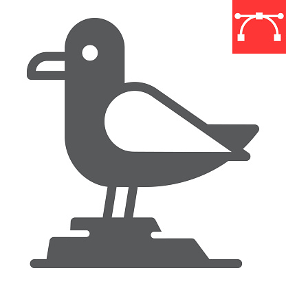 Seagull glyph icon, sea and herring gull, seagull vector icon, vector graphics, editable stroke solid sign, eps 10.