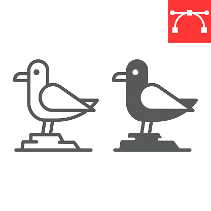 Seagull line and glyph icon, sea and herring gull, seagull vector icon, vector graphics, editable stroke outline sign, eps 10.