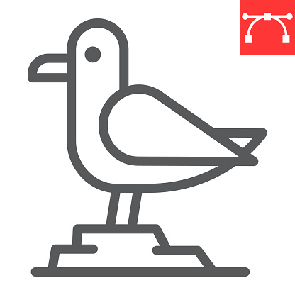 Seagull line icon, sea and herring gull, seagull vector icon, vector graphics, editable stroke outline sign, eps 10.