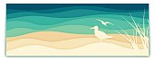 Seagull ocean banner with space for your copy. EPS 10 file. Transparency effects used on highlight elements.