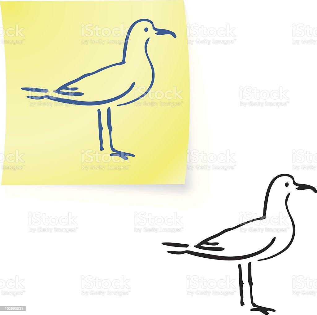 seagull  on post it notes vector art illustration