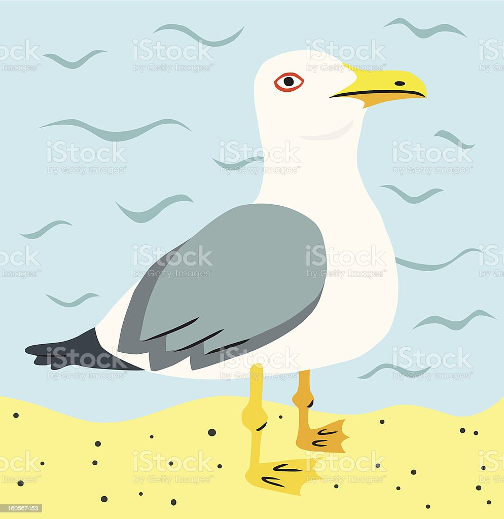 Seagull on the Beach royalty-free stock vector art