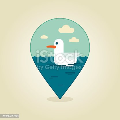 Seagull pin Kartikon. Sommar, strand, sol, havet Clipart Bild
